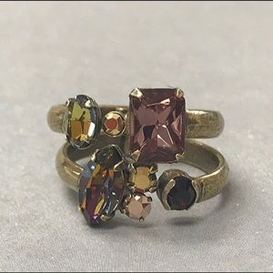 Two Sorrelli Stackable Crystal Ring Set, NWT